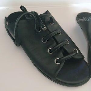 M4DE LF part leather slide sandal